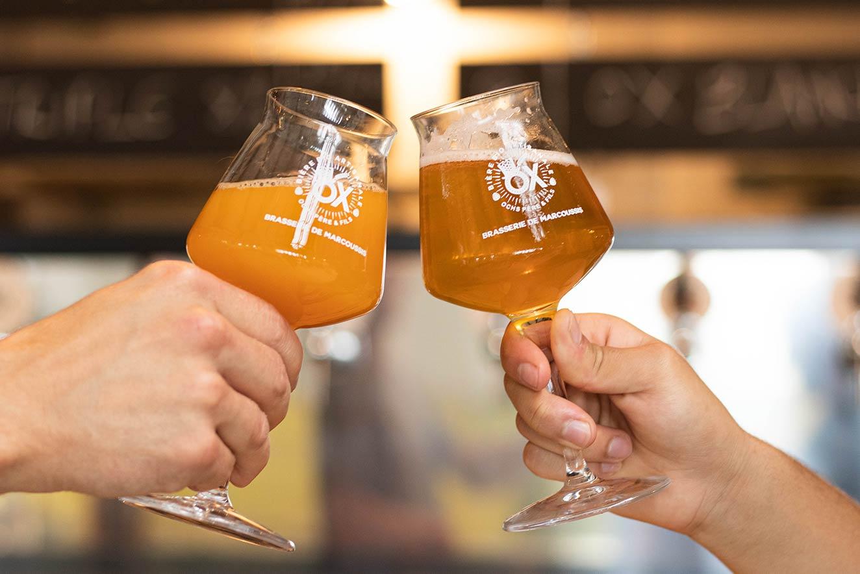 Photo des verres et bières de la Brasserie OX